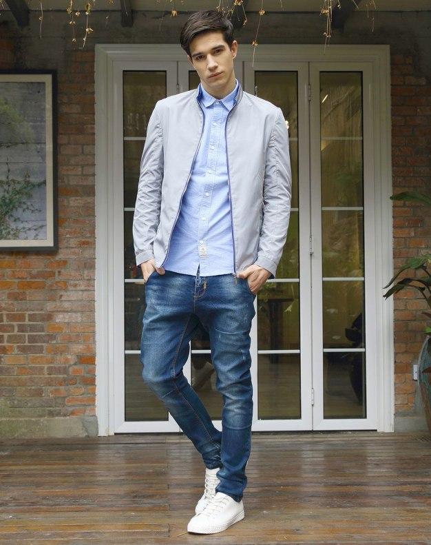Gray Long Sleeve Standard Men's Jacket