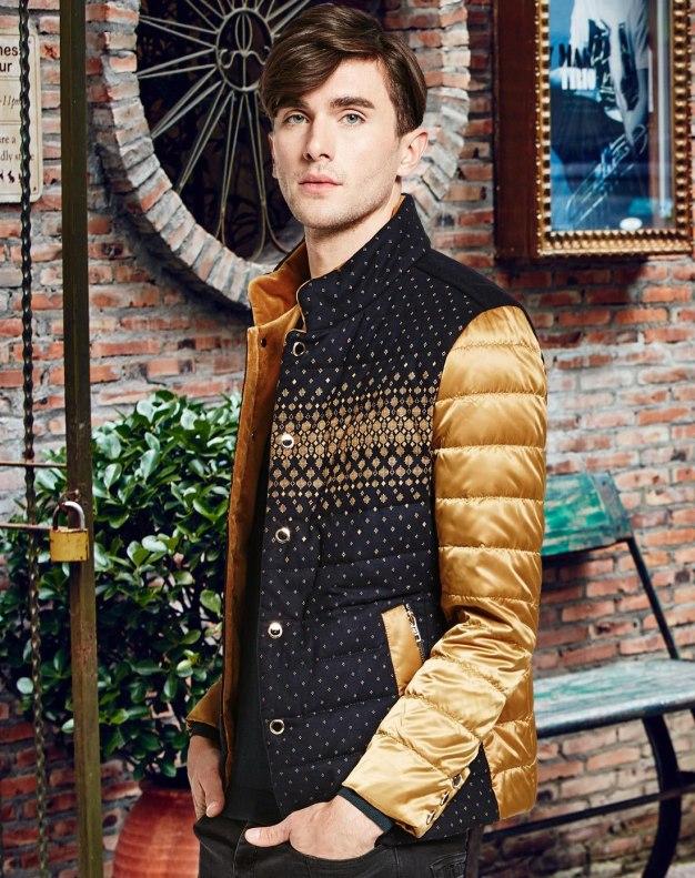 Yellow Stand Collar Standard Men's Down Coat