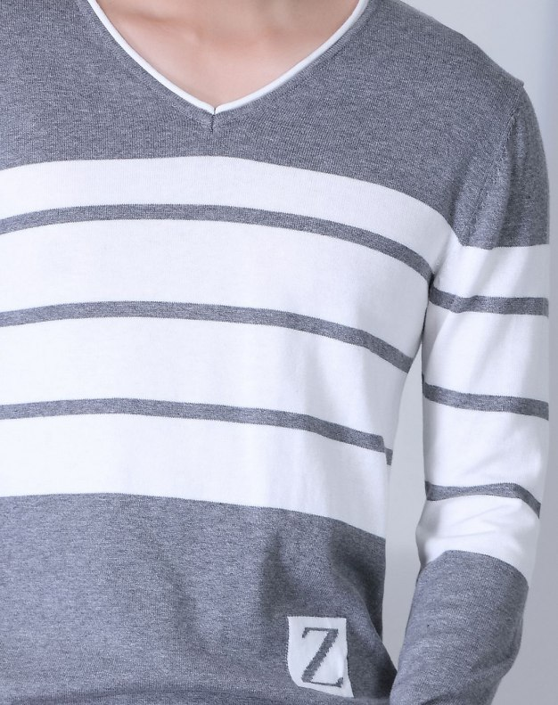 White Long Sleeve Men's Knitwear