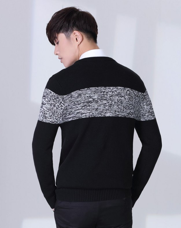 Black Long Sleeve Men's Knitwear
