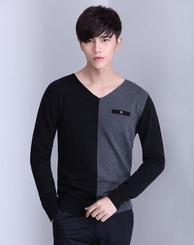 Black Long Sleeve Men's Knitwear