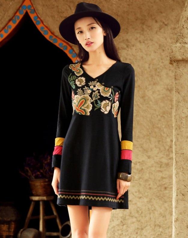 블랙 긴소매 A라인 여성 드레스