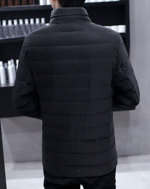 Black Stand Collar Long Sleeve Standard Men's Down Coat