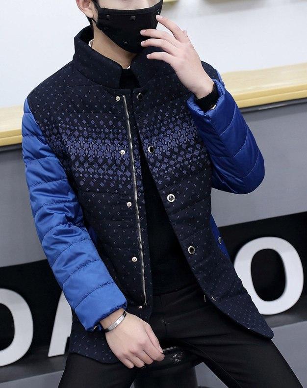 Blue Stand Collar Standard Men's Down Coat