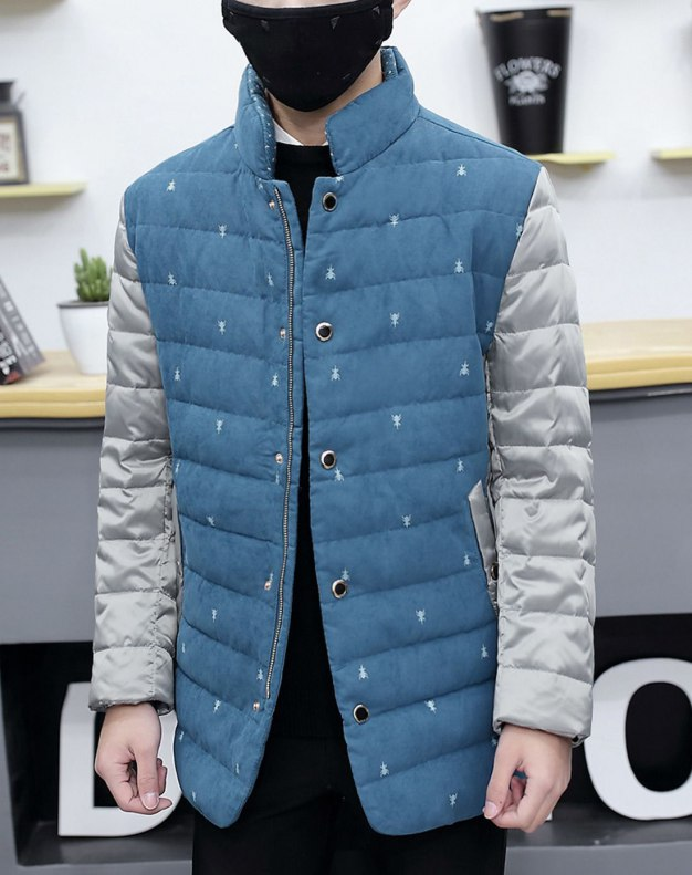 Blue Stand Collar Standard Men's Down Coat