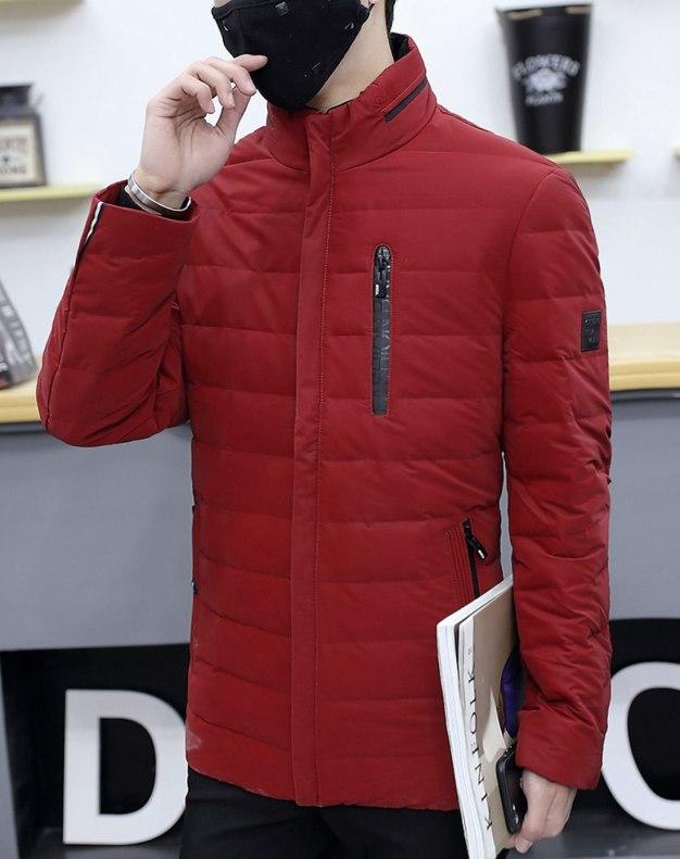 Red Long Sleeve Standard Men's Down Coat