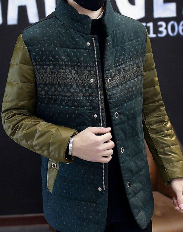Green Long Sleeve Standard Men's Down Coat