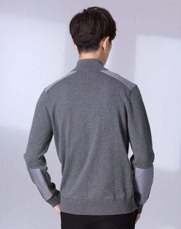 Gray Long Sleeve Men's Knitwear