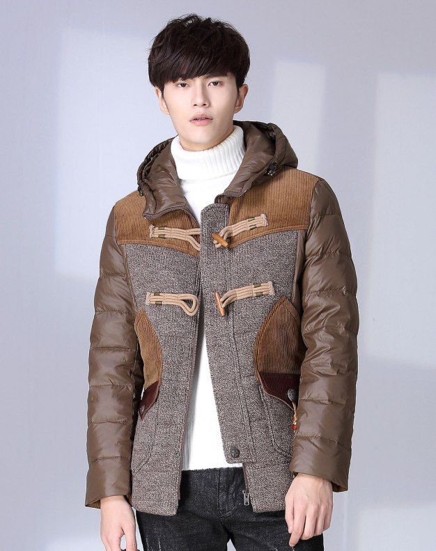 Brown Long Sleeve Men's Down Coat
