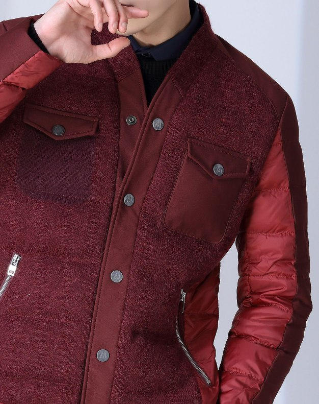 Red Long Sleeve Men's Down Coat