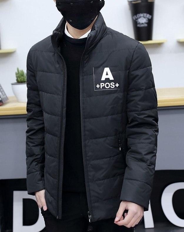 Black Stand Collar Standard Men's Down Coat