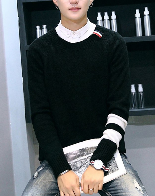 Black Round Neck Long Sleeve Standard Men's Sweater