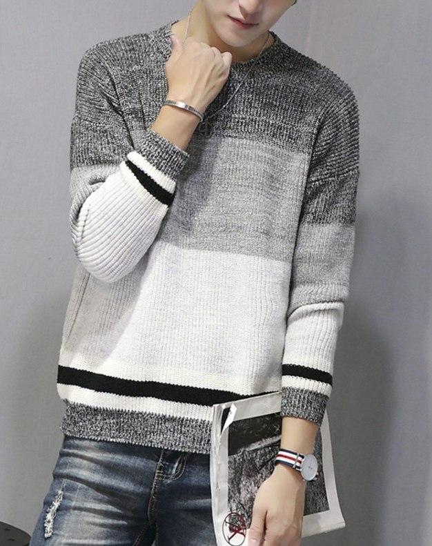 Gray Long Sleeve Standard Men's Sweater
