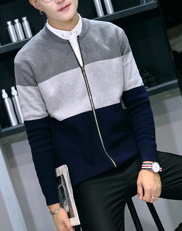 Gray Long Sleeve Standard Men's Knitwear