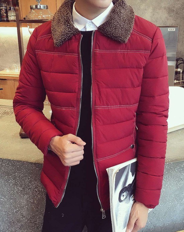 Red Long Sleeve Fitted Men's Outerwear