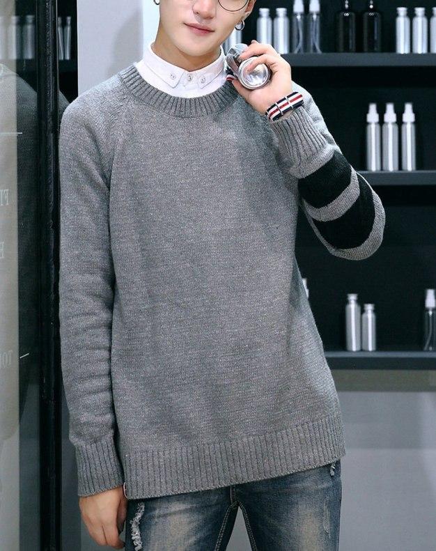 Gray Round Neck Long Sleeve Standard Men's Sweater