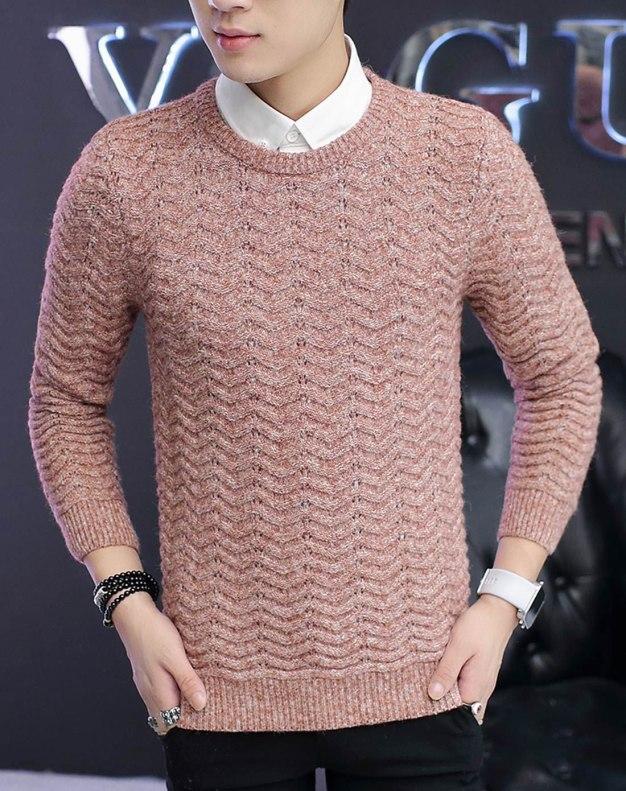 Red Diamond lattice Round Neck Standard Men's Sweater