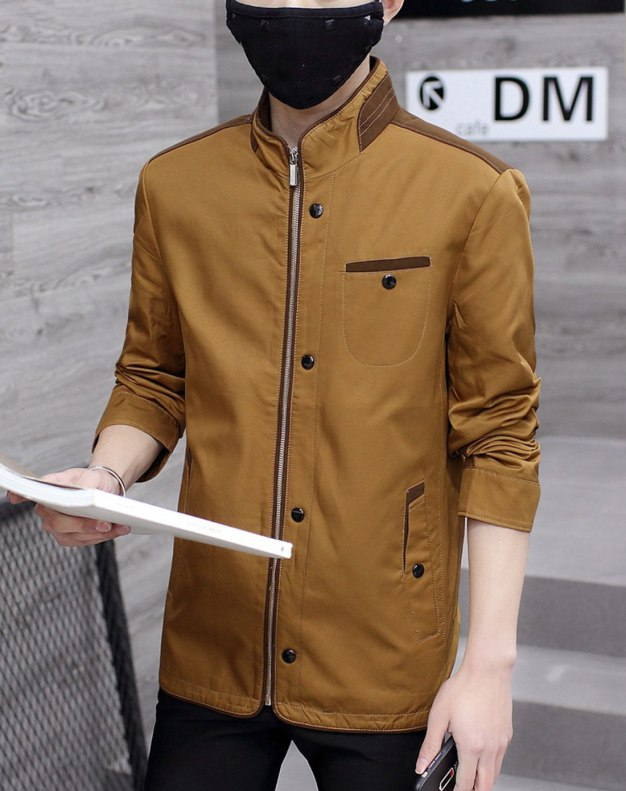Yellow Long Sleeve Standard Men's Outerwear