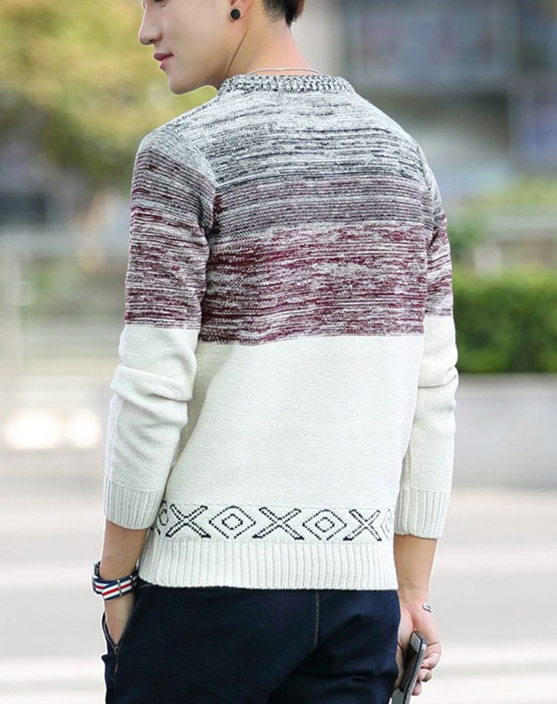 Red Long Sleeve Standard Men's Sweater