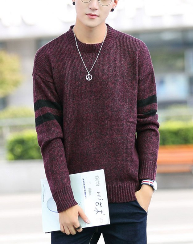 Red Long Sleeve Standard Men's Sweater