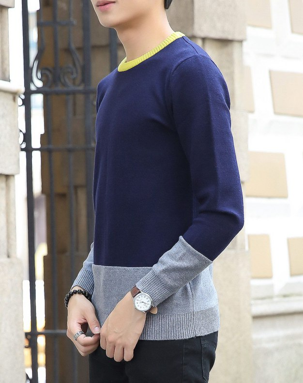 Gray Long Sleeve Standard Men's Knitwear