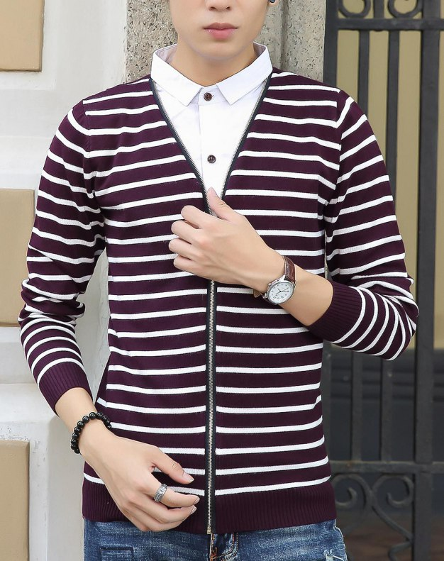 Red Long Sleeve Standard Men's Knitwear