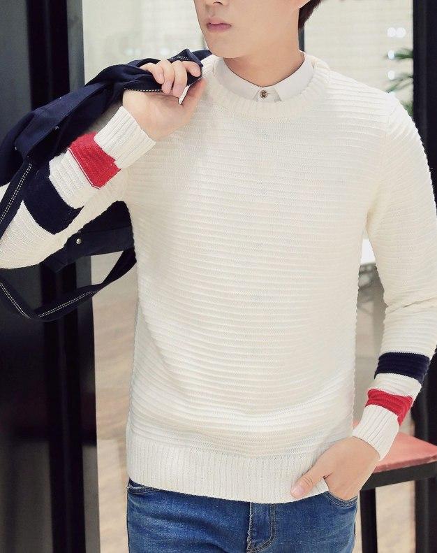 White Long Sleeve Standard Men's Sweater