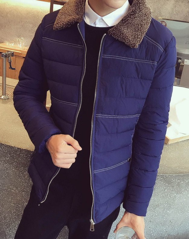 Blue Long Sleeve Fitted Men's Outerwear