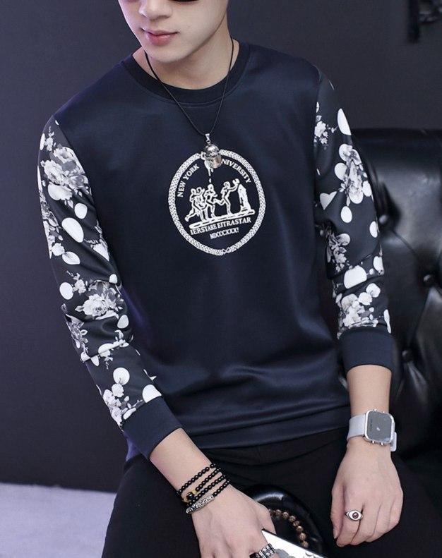 Blue Long Sleeve Standard Men's Hoodies & Sweatshirt
