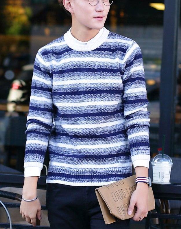 Blue Stripes Long Sleeve Standard Men's Sweater