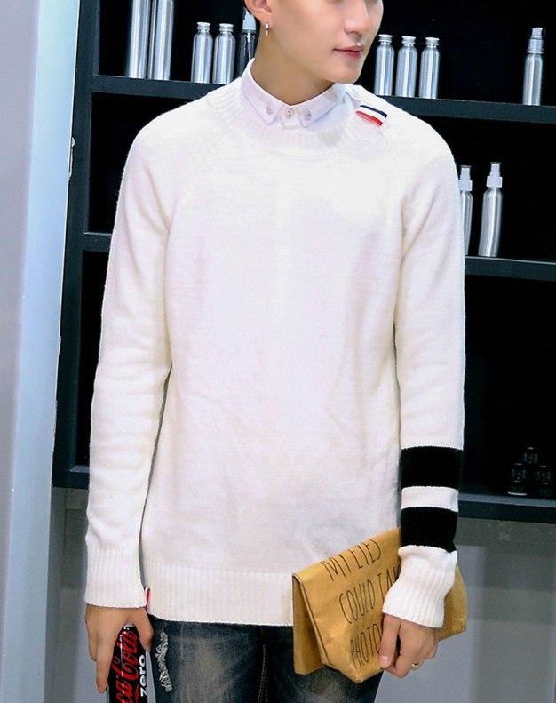 White Round Neck Long Sleeve Standard Men's Sweater