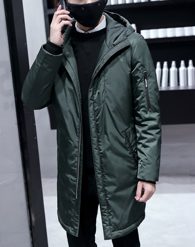 Green Long Sleeve Standard Men's Down Coat