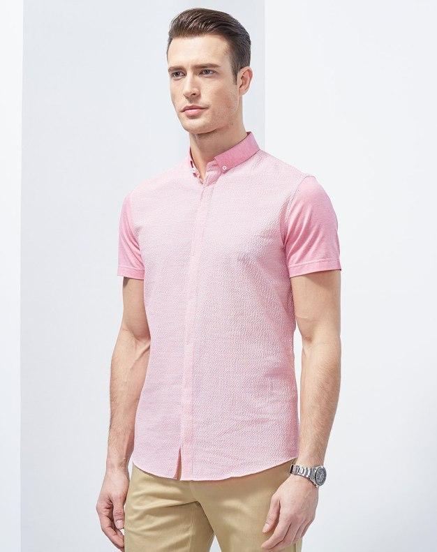 Pink Short Sleeve Men's Shirt