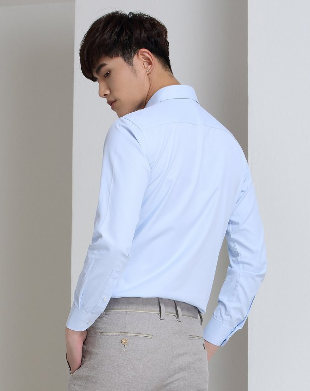 Blue Plain Long Sleeve Standard Men's Shirt
