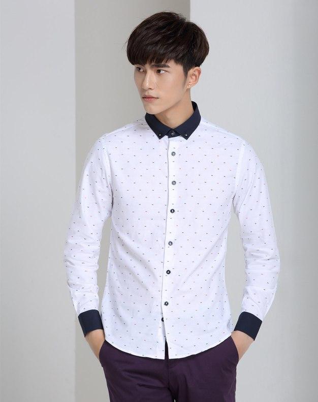 White Long Sleeve Standard Men's Shirt