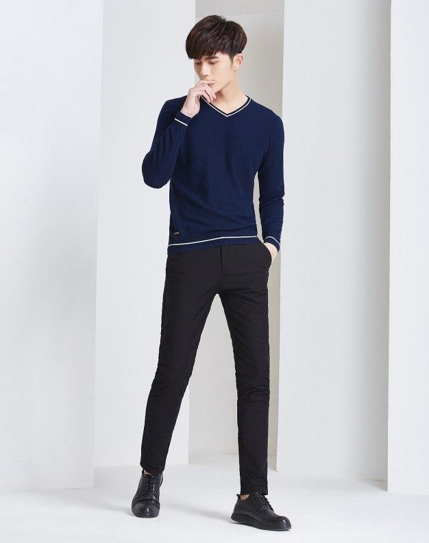 Blue V Neck Long Sleeve Standard Men's Knitwear