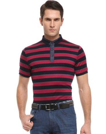 Red Stripes Lapel Short Sleeve Standard Men's T-Shirt