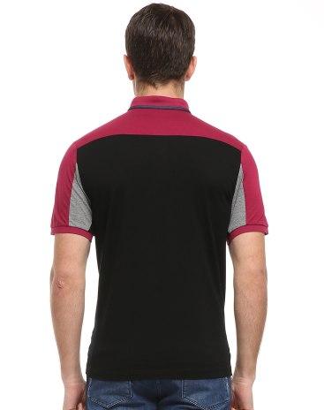Red Contrast Color Lapel Short Sleeve Standard Men's T-Shirt