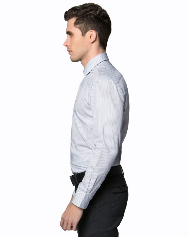 Coffee Stripes Square Neck Long Sleeve Fitted Men's Shirt