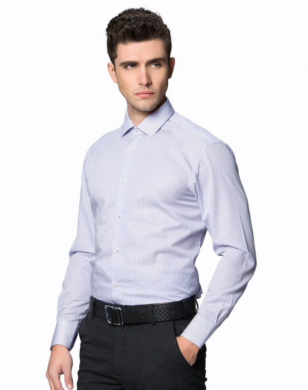 Purple Stripes Square Neck Long Sleeve Fitted Men's Shirt