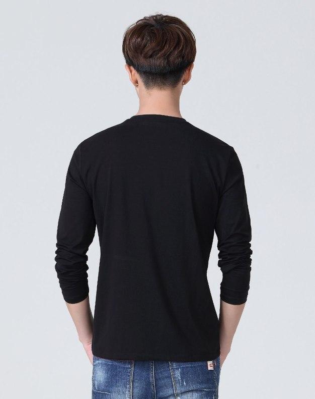 Black Plain Round Neck Long Sleeve Standard Men's T-Shirt