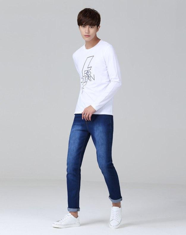 White Plain Round Neck Long Sleeve Standard Men's T-Shirt