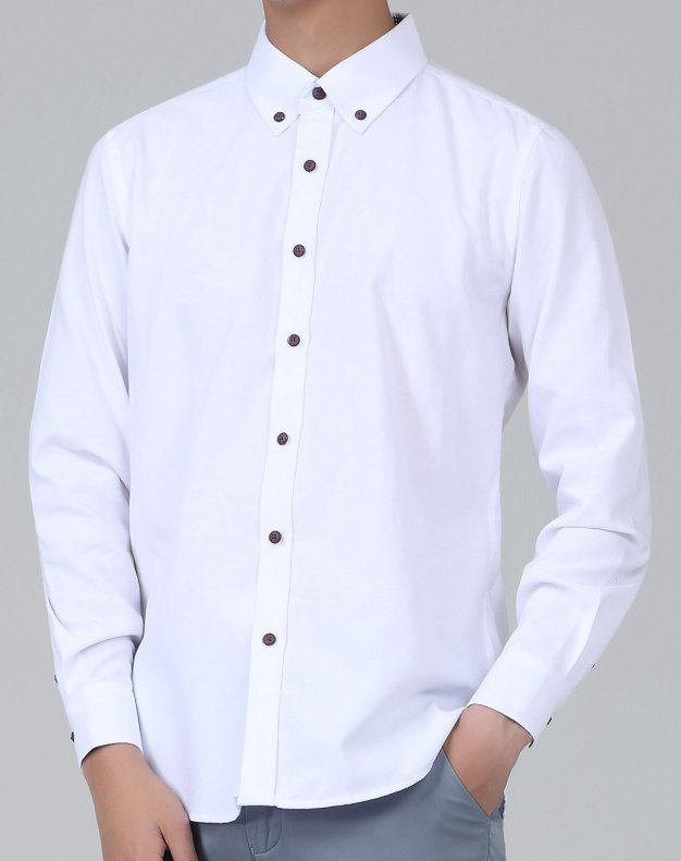 White Plain Long Sleeve Standard Men's Shirt