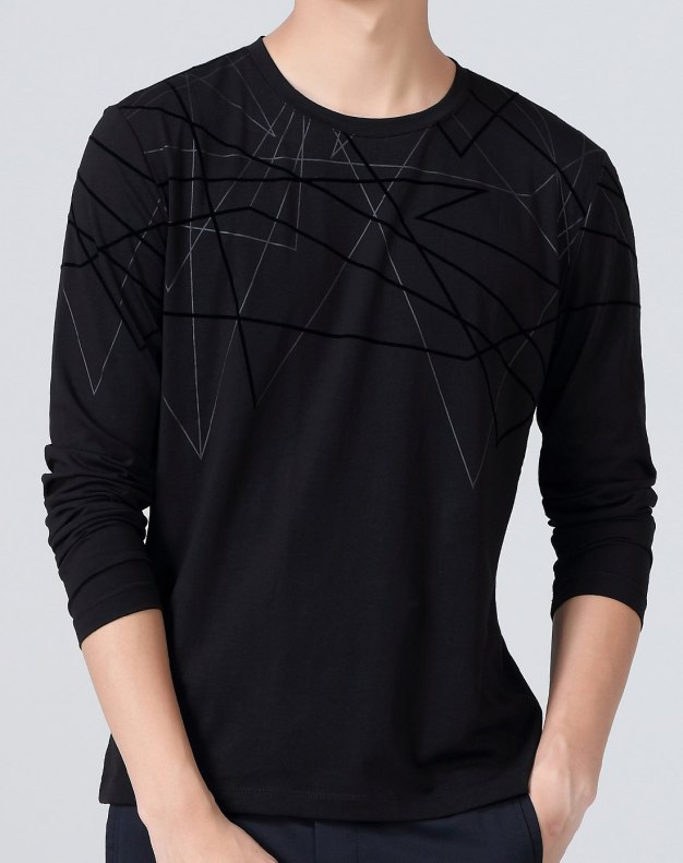 Black Plain Round Neck Long Sleeve Standard Men's T-Shirt