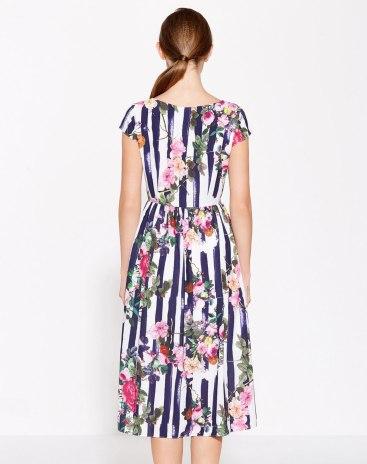 Blue V Neck Short Sleeve Standard Women's Dress