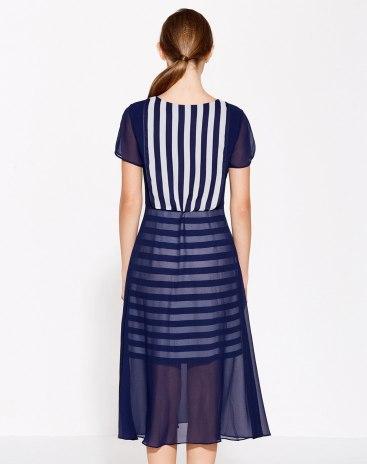 Blue Round Neck Short Sleeve 3/4 Length Standard Women's Dress
