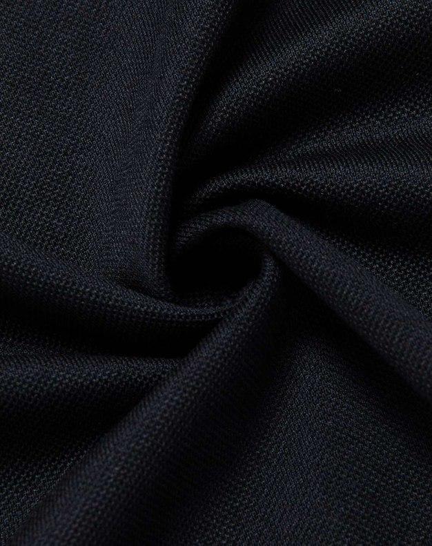 Black Plain Lapel Short Sleeve Fitted Men's T-Shirt