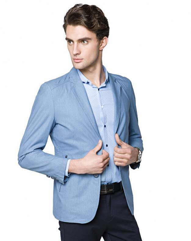 Blue Suit Collar Long Sleeve Fitted Men's Suit