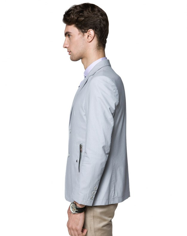 Gray Suit Collar Long Sleeve Fitted Men's Suit