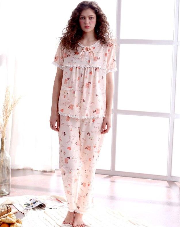 Apricot Cotton Thin Women's Loungewear